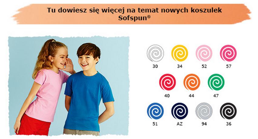 kolory koszulek sofspun fruit of the loom