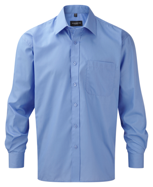 Męska koszula z długim rękawem, z polibawełny, łatwa w pielęgnacji, poplin, R934M